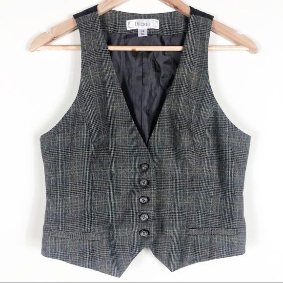 Decree Brown Plaid Vest Size Large